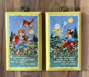 """Vintage The Cat And The Fiddle Nursery Rhyme Wood Wall Plaques 4 3/4x7 3/4"""""""