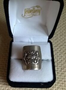 vintage old CHINESE signed Silver ADJUSTABLE ring two people & flowers O P Q R