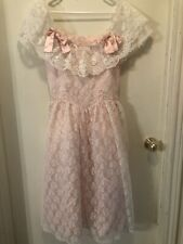 New listing Vtg Gunne Sax Jessica McClintock On/Off Shoulder Pink Lace/Satin Dress Size 9