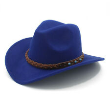 Kid Child Wool Felt Western Cowboy Hat Wide Brim Cowgirl Braid Leather Band 54cm
