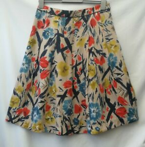 Laura Ashley Skirt Size 12 100% Silk Multi Floral Fit Flare Pleats fully lined.