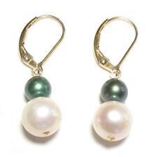 Genuine White & Dark Green Pearl 14K Gold Filled Lever Back Earrings