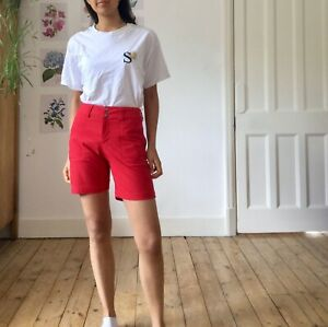 Vintage Patagonia Shorts Bright Red Button Retro Hiking Cargo 6 8 XS 90's y2k