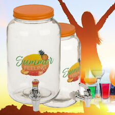 3L Glass Dispenser Jar Bar Drink Juice Party Beverage Cocktail Water With Tap