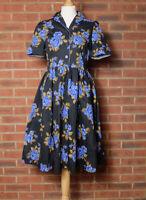 LINDY BOP Dorothy Navy Rose Cotton Swing Shirt Dress 1950s Style UK 10
