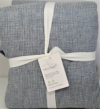 Pottery Barn Belgian Flax Linen Waffle King Duvet Cover Chambray Blue
