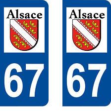 Département 67 sticker 2 autocollants style immatriculation AUTO PLAQUE