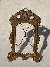 Rare Antique Victorian Ornate Brassy~Gold Metal Picture Frame Easel Back #2