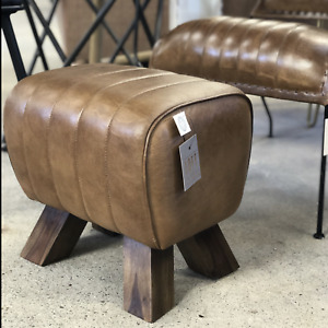 Brown Leather Pommel Horse Style Footstool