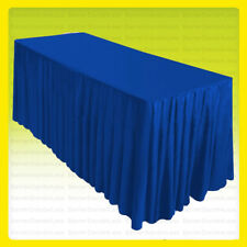 5' Fitted Table Skirt Cover w/Top Topper Wedding Banquet Tablecloth - Royal Blue