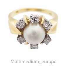 585er Gold Ring Akoya Perle Diamanten diamonds pearl 14ct 14k