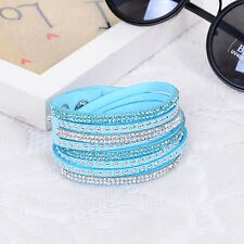 Pulsera de cristales de ante de imitación de cuero aplacar Luz Azul Turquesa