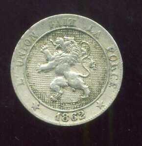 BELGIUM  BELGIQUE  5 centimes 1862)  ( etat )