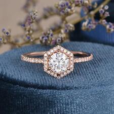 Auth 14K Hexagon Cut Rose Gold Moissanite Engagement Ring Anniversary Gift