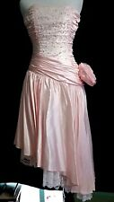 80s Vintage Pretty in Pink Satin Sleeveless Short Prom Formal Dress XS Lace Bead