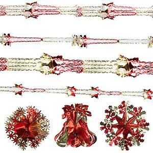 Snow White Christmas Foil Ceiling Decorations - Red & Gold