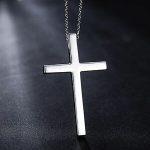 Real Fine PT950 Pure Platinum 950  Men Women Smooth Cross  Pendant / 8.6-9g