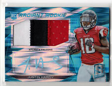 #/50 RC PATCH AUTO!   ** Justin Hardy **   2015 Spectra RADIANT ROOKIE Neon Blue