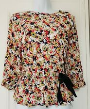 Womens & Other Stories White Blue Floral Side Button Fastening Side Bow Blouse38