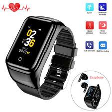 2 in 1 Men Boys Smart Watch Heart Rate Fitness Tracker Sport Bluetooth Headset