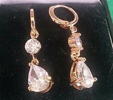 J17 Gold filled CRUISE huggie hoop & 'diamond' dangle / pear drop earrings BOXED