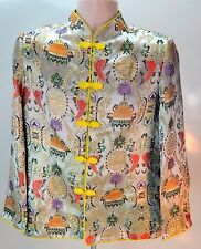 Vintage Silk Japanese Oriental Kimono Jacket Gray Yellow Womens Size Large
