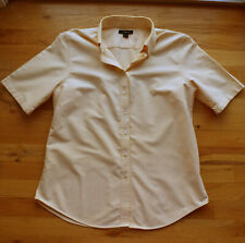 Women's Lands End yellow fitted short sleeve button-up collared shirt (M 10-12)