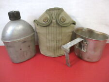 WWII US Army M1910 Dismounted Canteen, Cup and OD Green Cover - All Dtd 1945 #1