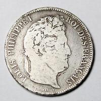 Pièce Argent France 5 francs Louis-Philippe I tête laurée Année 1834 B Rouen