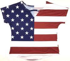 American Flag Short Sleeve Shirt Blouse Top