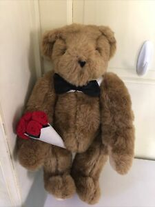 """Vermont Teddy Bear Co. Plush Jointed Poseable Bear 15"""" Original Bag clean"""