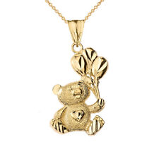 Solid 10k Yellow Gold Teddy Bear With Balon Pendant Necklace