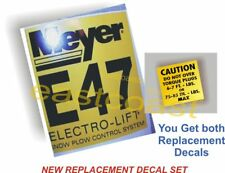 2 Snow Plow decals - 1 Mini Torque New + 1 Meyer E47 Pump NEW Sticker (MP1) E-47