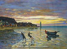 """Towing a Boat, Honfleur"", Monet, sunset, Reproduction, Oil 32""x21"""