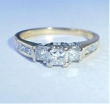 18ct Gold 0.50ct Princess Diamond Three Stone Ring, Size M