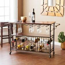 Espresso Wooden Metal Beverage Serving Cart Trolley Glass Wine Rack Rolling Bar