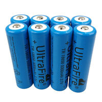 8X 18650 Batteries 5000mAh 3.7V Li-ion Rechargeable Battery for Flashlight Torch