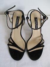 Kenneth Cole New York Black Leather Velvet Strappy Sandals Heels Size US 6