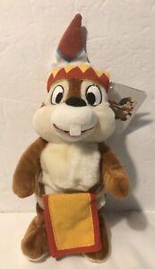 "Disney Chip & Dale Frontierland Chipmunk Indian Plush Stuffed Animal WDW 9"" A1"