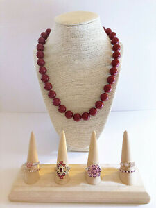 """Colleen Lopez - Coral Red Shell Pearl- Large 13-15mm Beaded 20"""" Necklace-635. ct"""