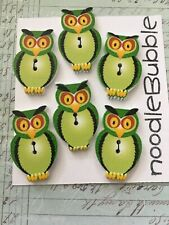 6 GREEN sitting OWL wooden BUTTON embellishment Scrapbooking Card making CRAFT