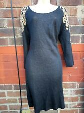 Ladies Black  Gold Sparkle metallic Jumper Dress Size 14  autumn winter Xmas