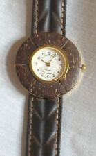 MEN'S/WOMEN'S WATCH*GENUINE BROWN LEATHER BAND*COCONUT SHELL BEZEL*LARGE NUMBERS