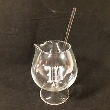 Roly Poly Footed Glass Cocktail Pitcher Monogram M or W with Shaped Stirrer