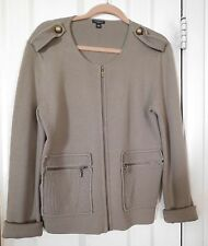 NWOT Ann Taylor Taupe Long Sleeve Zippered Cardigan/Epaulets/Bronze Buttons- L