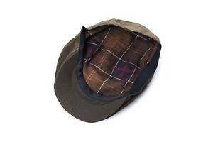 Barbour Wax Waxed Flat Cap Size 7 1/8 Olive Green Color Hat A817
