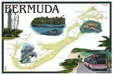 Bermuda United Kingdom, Uk, Nautical Chart, Lighthouse etc - Modern Map Postcard