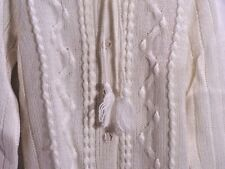 Sweater Ivory Cardigan Tie Neck Tassel Vintage '70's Queens Way To Fashion Sz M