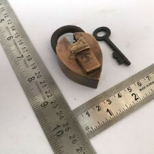 Old heart shaped brass small miniature padlock lock key collectible ENGLISH LOCK