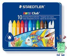 Staedtler dreieckige Wachsmalkreide 10 Farben im Metalletui mit Schaber
